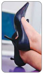 High heels can add pressure on the retrocalcaneal bursa, subcutaneous calcaneal bursa, and Achilles tendon.