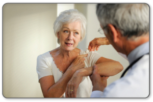 The doctor will discuss your symptoms and visually assess the bones and soft tissue in your shoulder.
